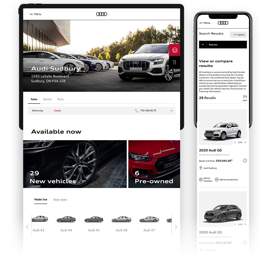 Audi dealer screen